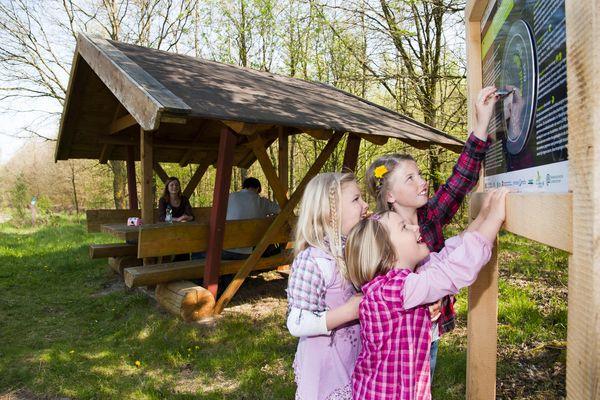 Löwenzahnentdeckertouren Fullener Wald – Kinder bei Erlebnisstation