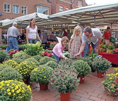 Wochenmarkt in Meppen - Blick auf Marktstand