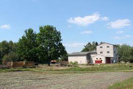 Torfwerk Hahnenmoor - Außenansicht Gebäude und Buchweizenfeld