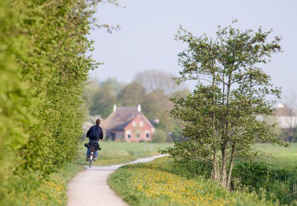 Radfahrer unterwegs auf der United Countries Tour in der Provinz Groningen