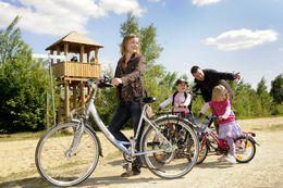 Radfahrer am Vogelbeobachtungsturm Twist